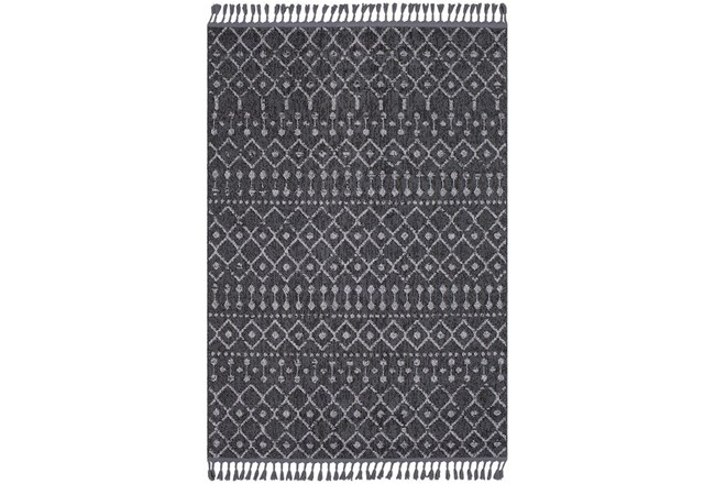 120X94 Rug-Charcoal Boho Diamonds Tassel Trim - 360