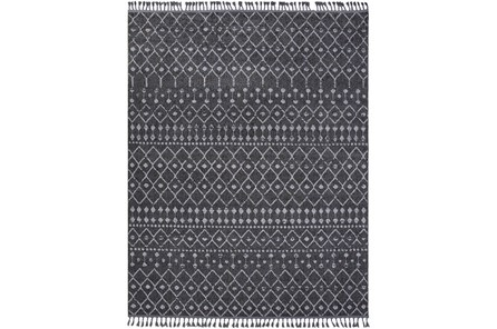 145X111 Rug-Charcoal Boho Diamonds Tassel Trim