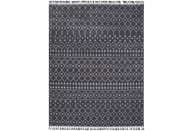 145X111 Rug-Charcoal Boho Diamonds Tassel Trim - 360