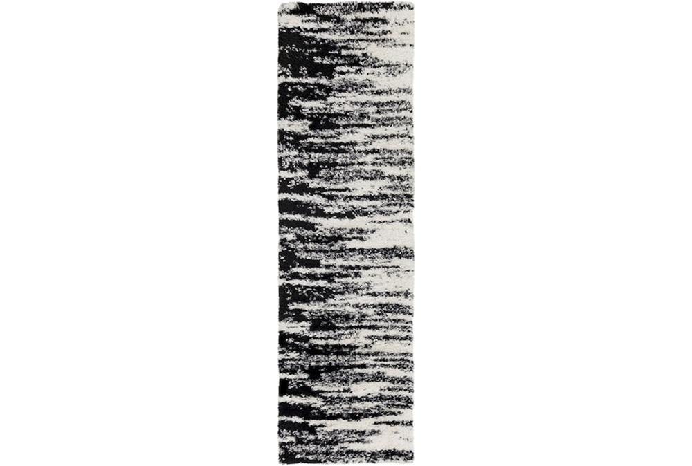 94X27 Rug-Delano Black & White Shag