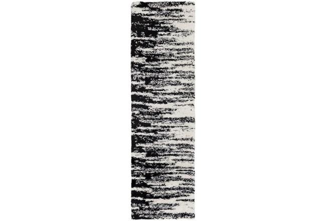 94X27 Rug-Delano Black & White Shag - 360
