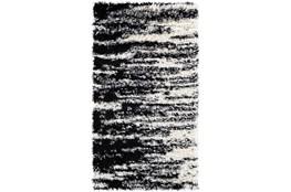 43X24 Rug-Delano Black & White Shag