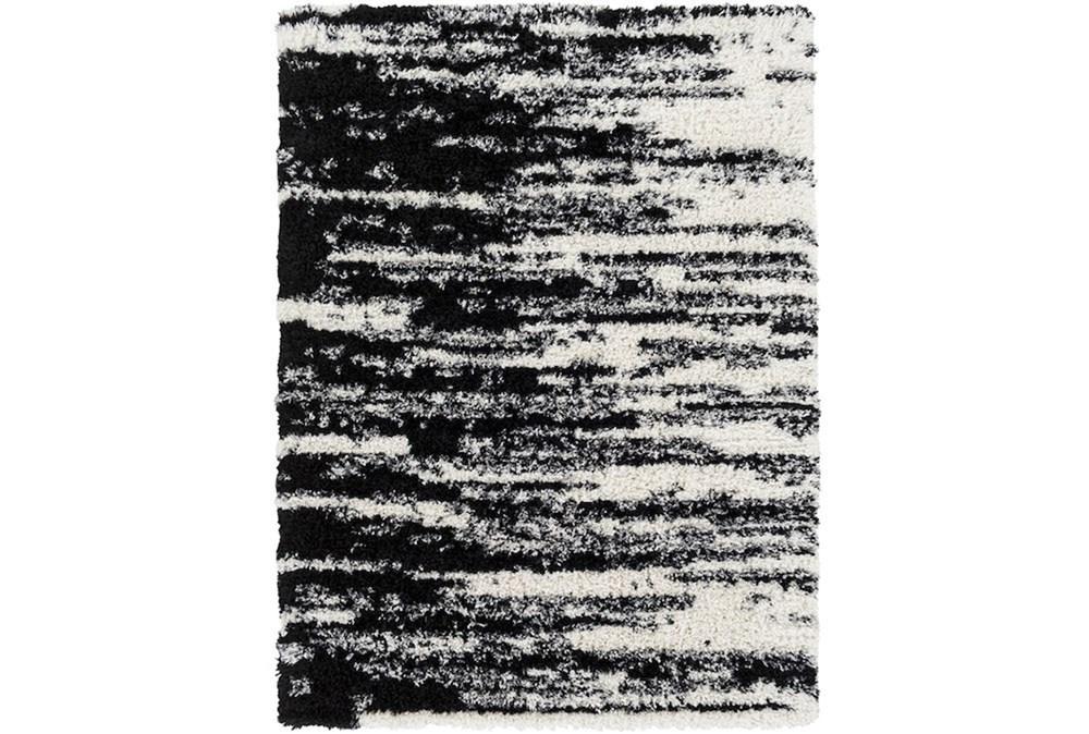 87X63 Rug-Delano Black & White Shag