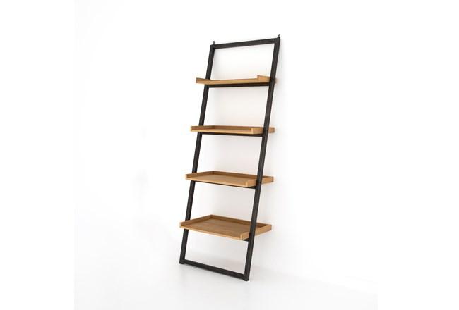 Natural Oak Light Rustic Black Leaning Bookcase - 360