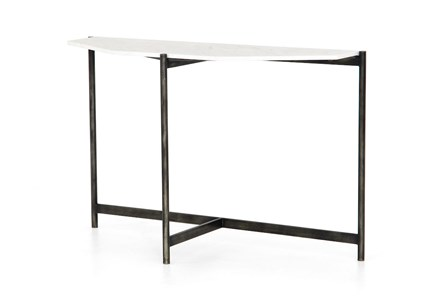 Hammered Grey Polished White Marble Console Table