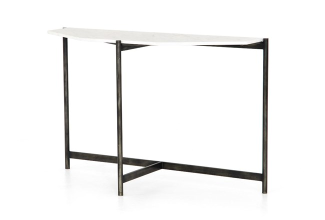 Hammered Grey Polished White Marble Console Table - 360