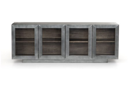 Aged Aluminum Grey Natural Media Console