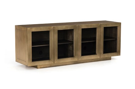 Aged Brass Clad Grey Natural Media Console - Main