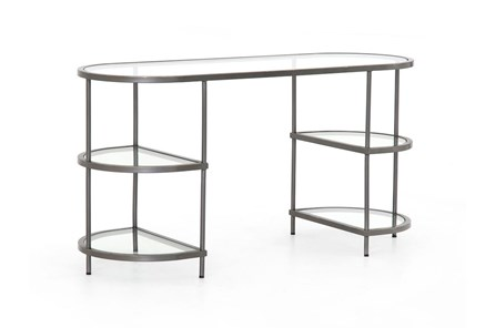 Rubbed Gunmetal Tempered Glass Desk