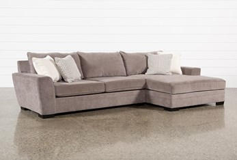 """Delano Charcoal 2 Piece 136"""" Sectional With Right Arm Facing Oversized Chaise"""