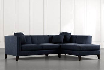 Avery II Navy Blue 2 Piece Sectional with Right Arm Facing Armless Chaise