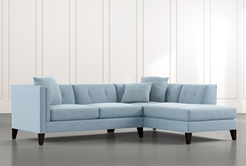 Avery II Light Blue 2 Piece Sectional with Right Arm Facing Armless Chaise