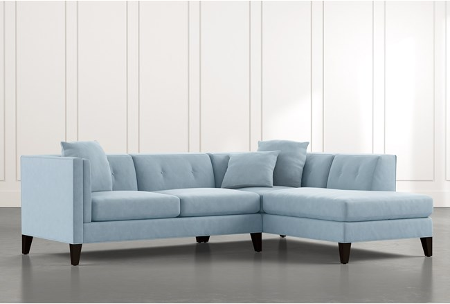 Avery II Light Blue 2 Piece Sectional with Right Arm Facing Armless Chaise - 360