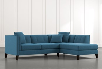 Avery II Teal 2 Piece Sectional with Right Arm Facing Armless Chaise