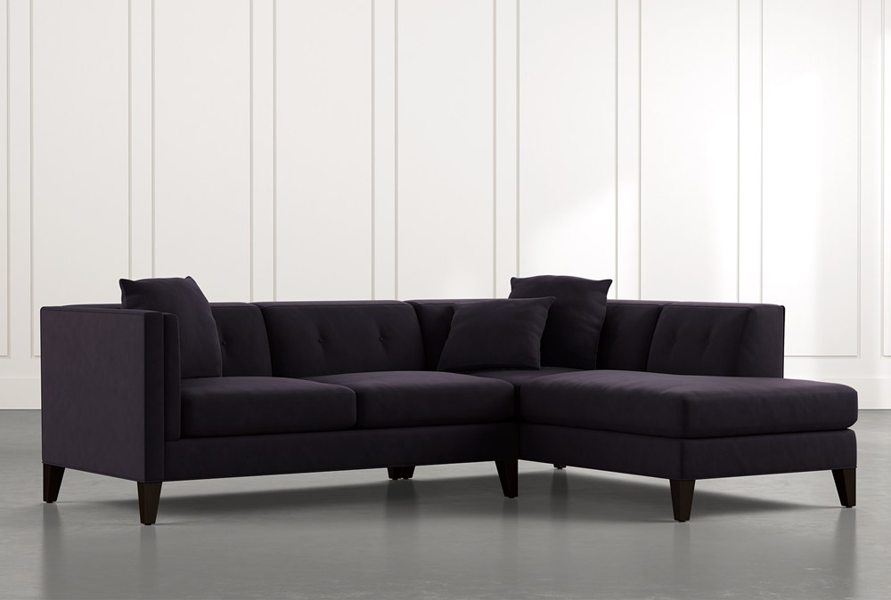 Avery II Black 2 Piece Sectional with Right Arm Facing Armless Chaise