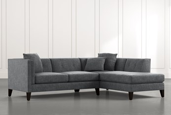 Avery II Dark Grey 2 Piece Sectional with Right Arm Facing Armless Chaise