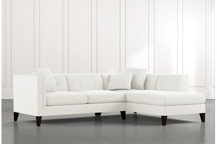 Avery II White 2 Piece Sectional with Right Arm Facing Armless Chaise