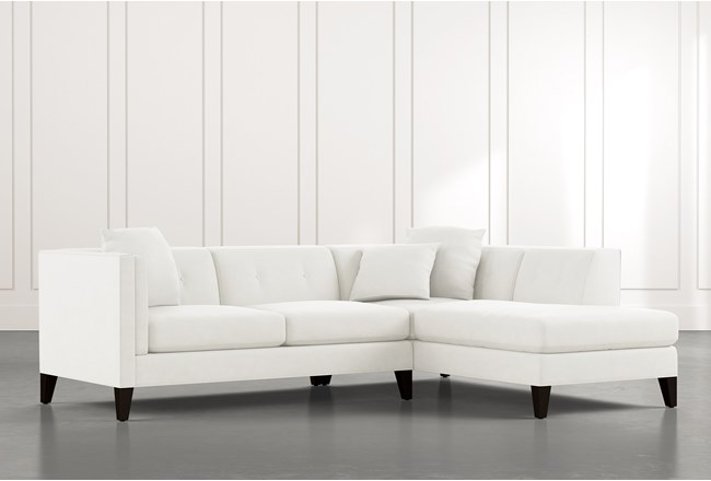 Avery II White 2 Piece Sectional with Right Arm Facing Armless Chaise - 360