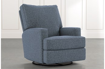 Becca Navy Blue Swivel Glider Recliner