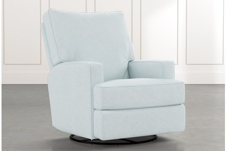 Becca Light Blue Swivel Glider Recliner