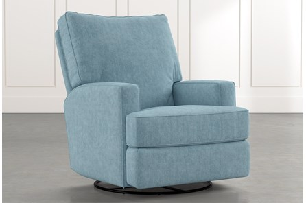 Becca Blue Swivel Glider Recliner