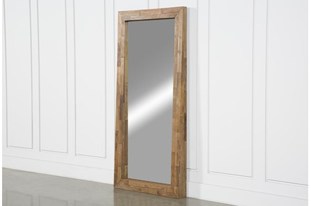 Natural Wood Standing Mirror