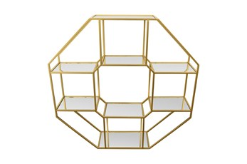 Gold Metal Wall Rack With Mirrors