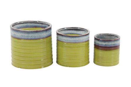 Outdoor Set Of 3 Green Planters - Main