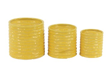 Outdoor Set Of 3 Yellow Planters