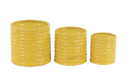 Outdoor Set Of 3 Yellow Planters - Main