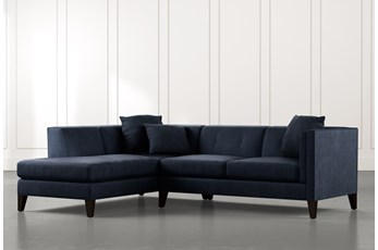 Avery II Navy Blue 2 Piece Sectional with Left Arm Facing Armless Chaise