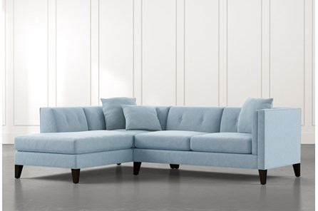 Avery II Light Blue 2 Piece Sectional with Left Arm Facing Armless Chaise