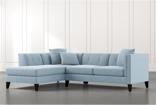 Avery II Light Blue 2 Piece Sectional with Left Arm Facing Armless Chaise - 360