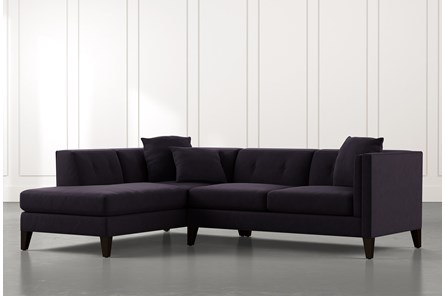 Avery II Black 2 Piece Sectional with Left Arm Facing Armless Chaise