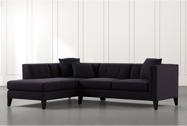 Avery II Black 2 Piece Sectional with Left Arm Facing Armless Chaise - 360