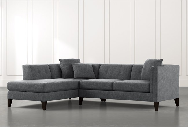 Avery II Dark Grey 2 Piece Sectional with Left Arm Facing Armless Chaise - 360