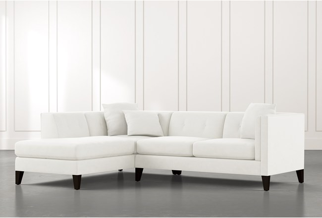 Avery II White 2 Piece Sectional with Left Arm Facing Armless Chaise - 360
