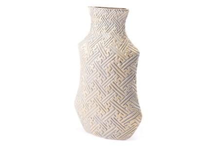 White + Gold Zig Zag Vase