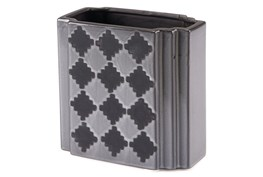 Black + Grey Checkered Small Vase