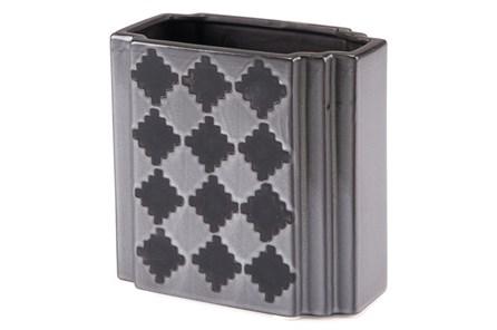 Black + Grey Checkered Small Vase - Main