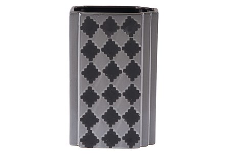 Black + Grey Checkered Large Vase