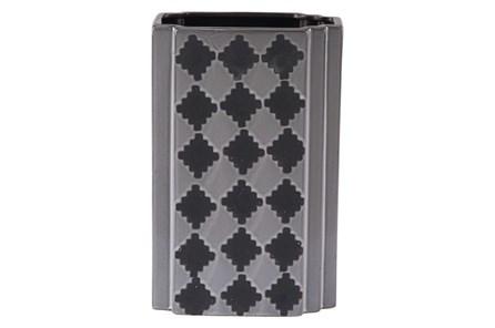 Black + Grey Checkered Large Vase - Main
