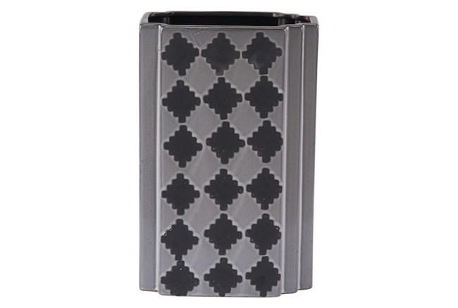 Black + Grey Checkered Large Vase  - 360