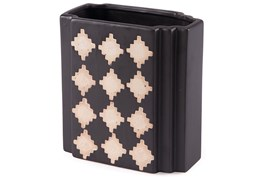 Black + Beige Checkered Small Vase