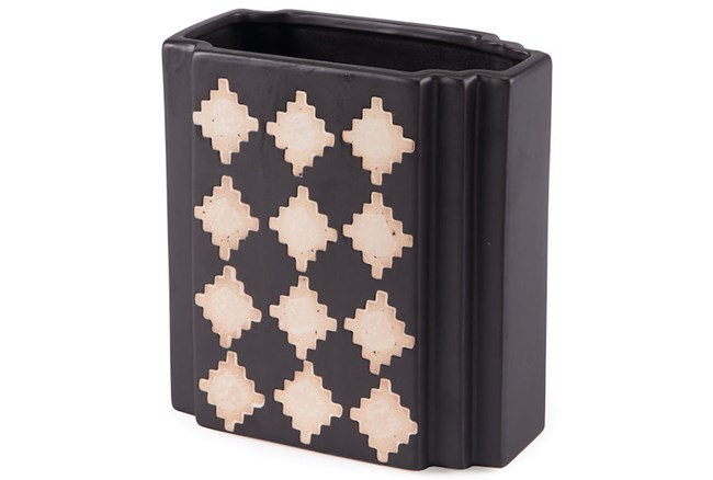 Black + Beige Checkered Small Vase  - 360