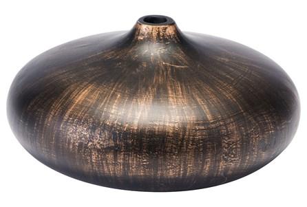 Large Round Brown Brushed Vase