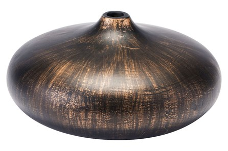 Large Round Brown Brushed Vase - Main