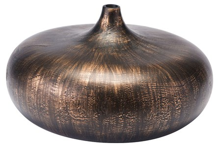 Small Round Brown Brushed Vase