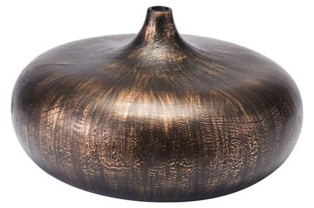 Small Round Brown Brushed Vase - Main