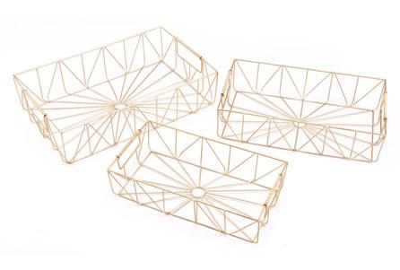 Set Of 3 Rectangular Gold Trays